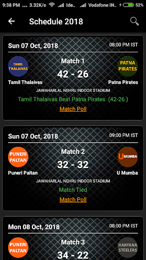 kabaddi schedule 2019 (points table and squad) screenshot 3