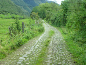 Photo: Rough road, paved with river rocks, follows an old Inca trail