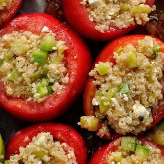 Quinoa Stuffed Tomatoes with Feta Cheese and Kalamata Olives