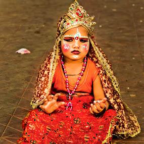 by Sudipto Ghosh - Babies & Children Children Candids ( child, girl, beggar, begging, street, goddess, red dress, women, lady, red )