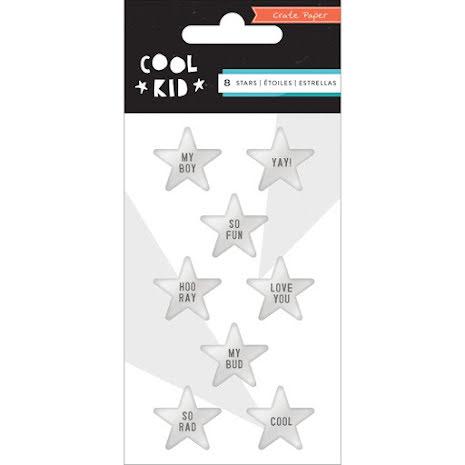 Crate Paper Cool Kid Embellishments 8/Pkg - Stars/Metallic Silver UTGÅENDE