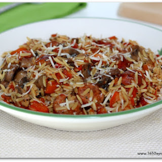 Slow Cooker Smoked Sausage with Peppers, Mushrooms, Orzo and Parmesan
