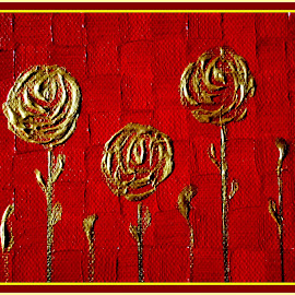 Golden roses by Bernarda Bizjak - Painting All Painting