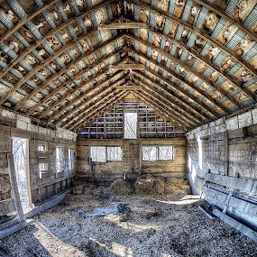 Good Morning Sunshine by Peter Stratmoen - Buildings & Architecture Decaying & Abandoned ( farm, wisconsin, fisheye, winter, barn, nikon,  )
