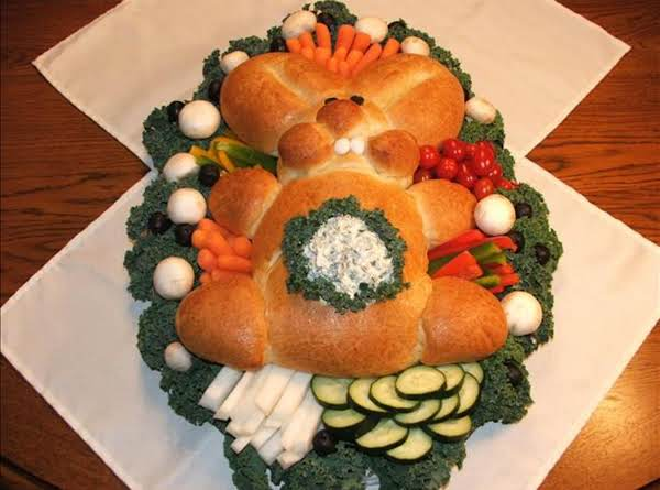 Spring Bunny Bread With Dip In Tummy