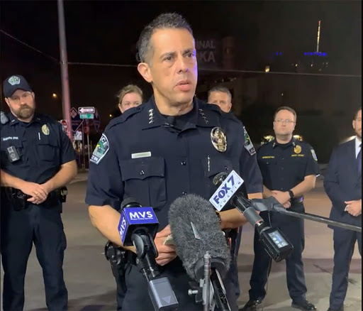 Austin cops arrest teen boy, 17, at summer school over horror mass shooting that left groom-to-be dead and 13 injured