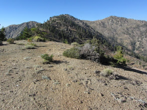 Photo: View north toward Middle Hawkins from the north ridge of Sadie Hawkins. Bicycle tracks?