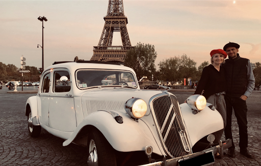 Paris romantic tour by night in luxury open roof classic french car