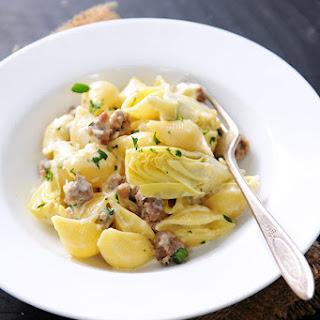 Creamy Shells with Artichokes & Italian Sausage