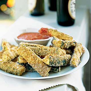 Parmesan Zucchini Sticks with Smoky Roasted Romesco Sauce