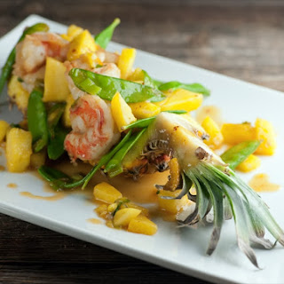 Sweet and Sour Shrimp in Pineapple Boats.