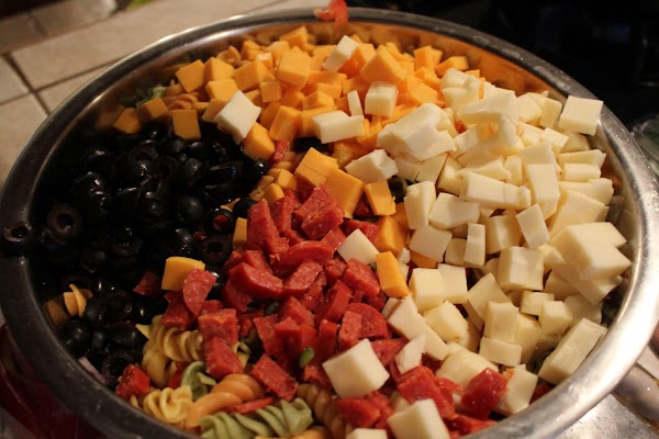 Dice pepperoni & cheeses; add to pasta and vegetables. Fold in. Add fresh seasonings...