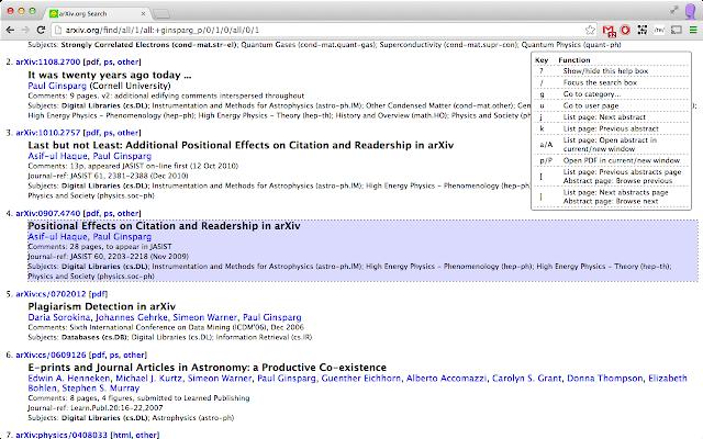 arXiv keys