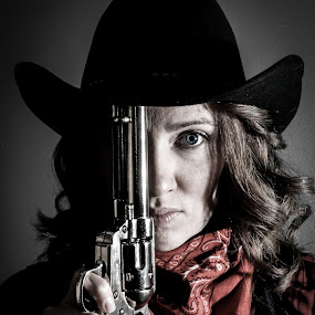 Cowgirl with Silver Gun by Florin Marksteiner - People Portraits of Women ( guns, red, silver, cowgirl, scarf, revolver, wild west,  )
