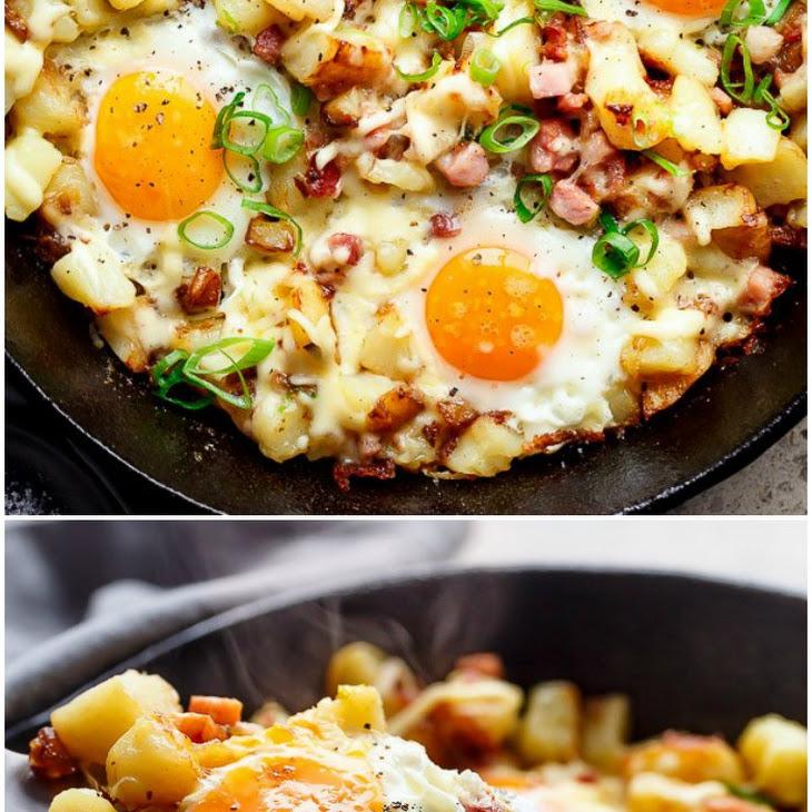 Cheesy Bacon and Egg Hash Recipe