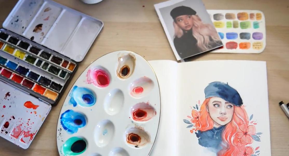 watercolor girl in beret
