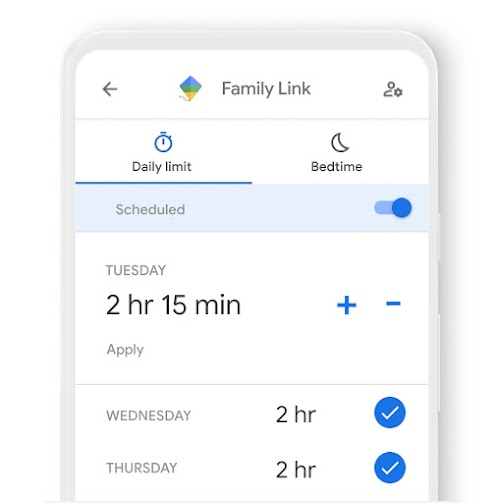 A phone featuring how you can set daily time limits for a device with the Family Link app