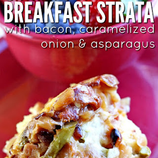 Instant Pot Caramelized Onion, Bacon & Asparagus Strata.