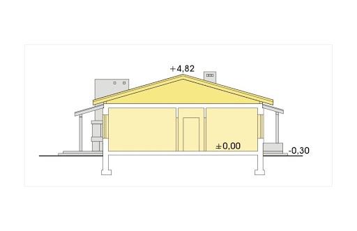 Wojtek wersja C z pojedynczym garażem i wiatą - Przekrój