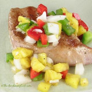 Yellow Fin Tuna with Pineapple Salsa.