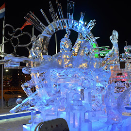 Ice sculpture 3_ice festival by Svetlana Saenkova - Artistic Objects Other Objects ( blue, black background, festival, ice, sculpture, night photography,  )