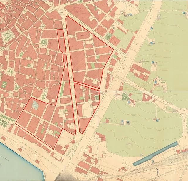 Ensanches burgueses y borde urbano en 1917 (Foto: CNIG).