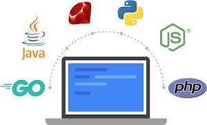 Illustrazione che mostra i linguaggi di programmazione come Go, Ruby, Java, php e Python