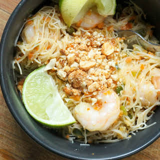 Shrimp Pad Thai with a Spicy Peanut Sauce.