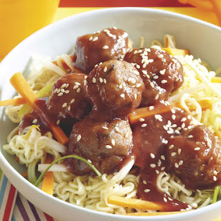 Plum Pork Meatballs with Ramen Noodles