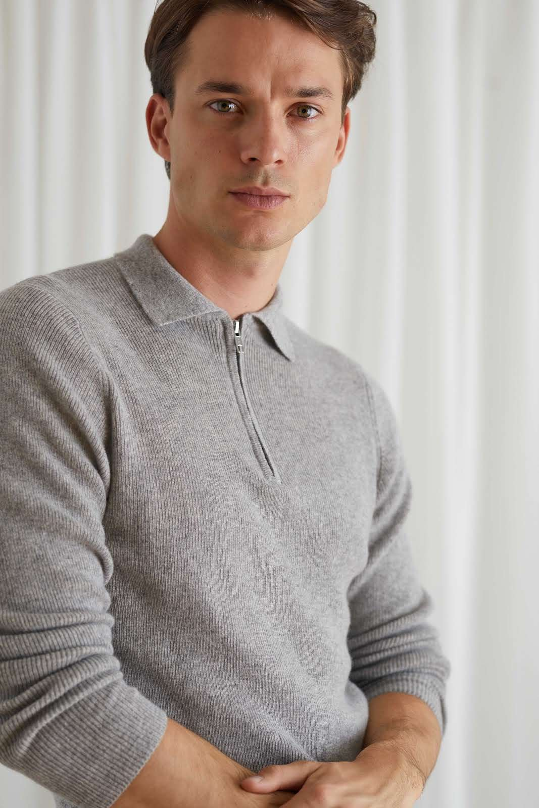 Man Half Zip Rib Sweater