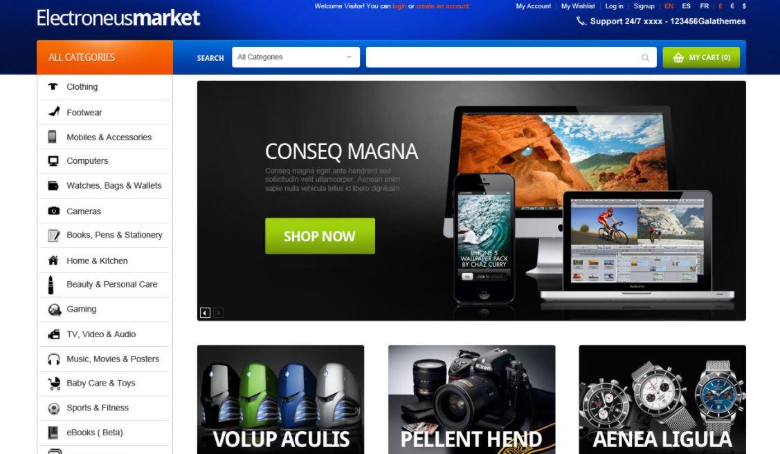 Magento electronics theme gala gomarket
