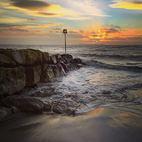 Sunrise at the beach  by Mark Usher - Instagram & Mobile Instagram ( beach sun sunrise water waves sand clouds )
