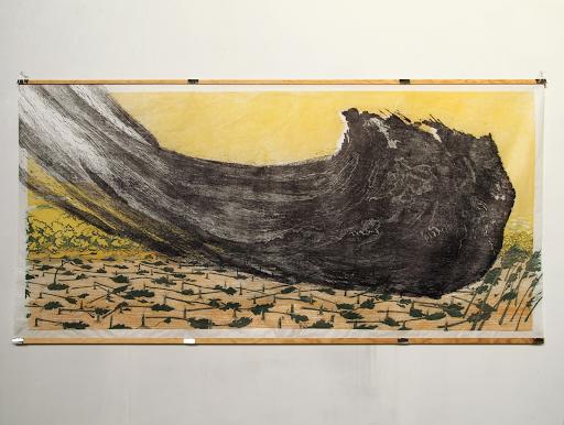 Mortenson_Les Landes II, 2019, gravure sur bois 97 x 200 cm