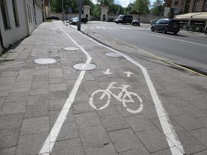 Photo: The bike paths in Vilnius often are on the sidewalks