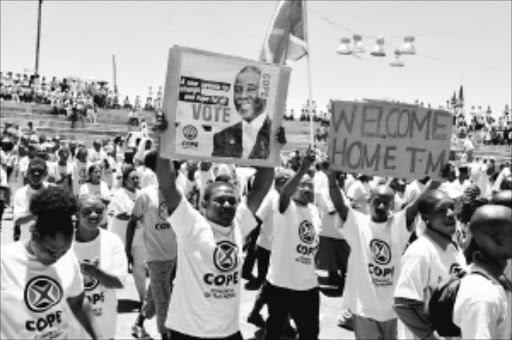 ALUTA CONTINUA: Cope members at a rally in Kimberly. Pic.PETER MOGAKI. 16/12/2009. ©  Sowetan.
