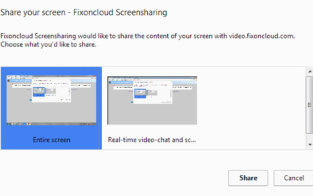 Fixoncloud Screensharing