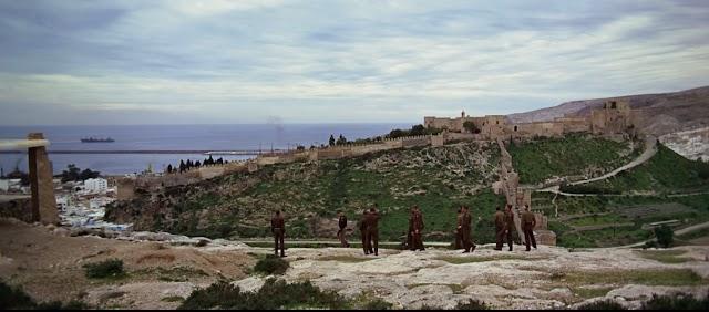 La película 'Patton' en un fotograma con la Alcazaba y el Puerto de Almería al fondo.