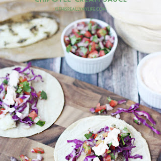 Easy Fish Tacos with Fresh Pico & Creamy Chipotle Sauce.