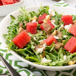 Watermelon Feta Walnut Salad with Balsamic Tahini Dressing
