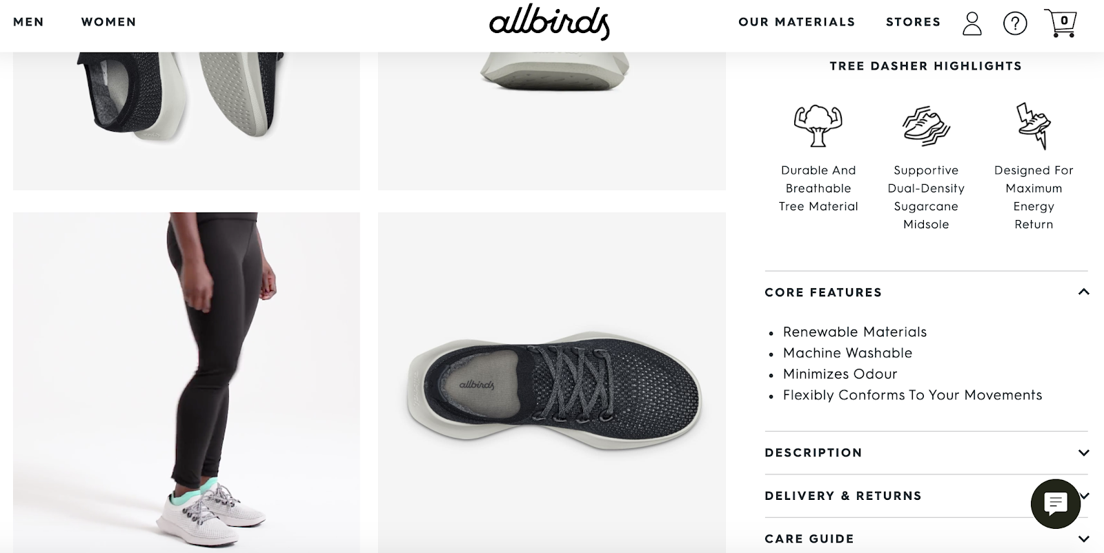 best product detail page examples allbirds