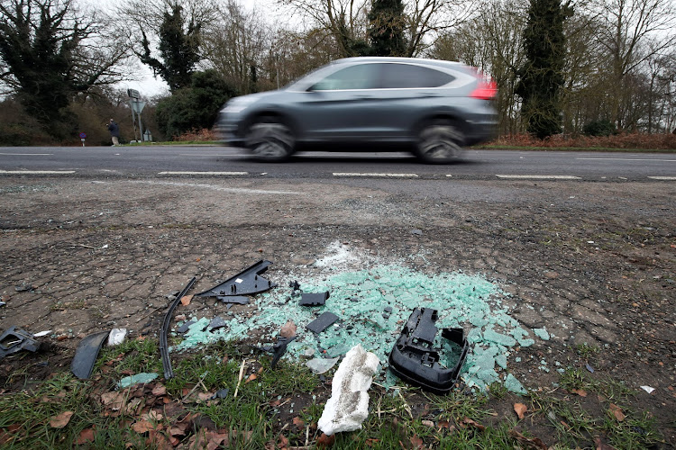 Debris is seen at the scene where Britain's Prince Philip was involved in a traffic accident, near the Sandringham estate in eastern England, Britain, January 18, 2019.