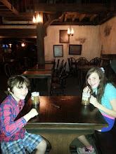 Photo: Butterbeer at the Hog's Head!  (we got it at the Hog's Head but are actually sitting in the Three Broomsticks).
