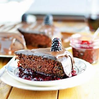 Red Wine Chocolate Cake with Blackberry-Red Wine Sauce and Dark Chocolate Ganache