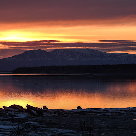 Point Woronzof Sunset by Patricia Phillips - Landscapes Sunsets & Sunrises ( alaska sunsets )