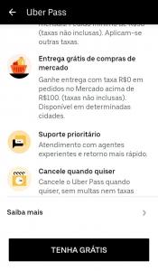 Captura de tela da página da Uber Pass