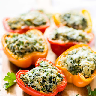 Spinach Artichoke Quinoa Stuffed Bell Peppers