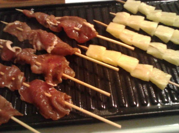 Put meat and fruit of choice on skewers. Brush fruit with honey soy mix. Place on...