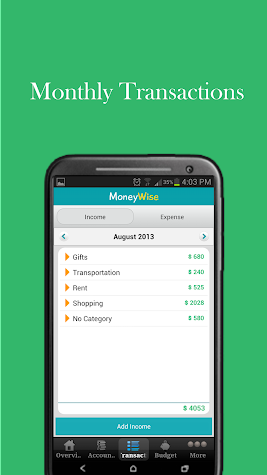 MoneyWise Home Budget Expenses Screenshot