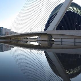 Calatrava bridge, Valencia by Luis Felipe Moreno Vázquez - City,  Street & Park  Street Scenes ( water, buildings, reflections, agora, architecture, bridge, valencia, calatrava )