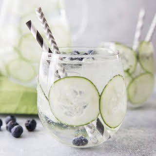 Sparkling Cucumber Blueberry Spa Water.